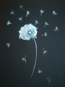 Dandelion aquarelle on paper